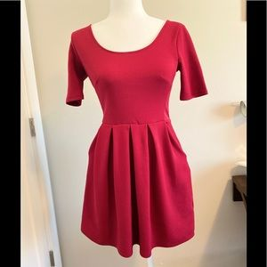 Lush Short Sleeve Red Dress with Pleated Skirt